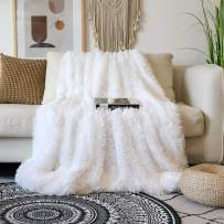 """Decorative Extra Soft Faux Fur Blanket Full Size 70"""" x 78"""",Solid Reversible Fuzzy Lightweight Long Hair Shaggy Blanket,Fluffy Cozy Plush Fleece Comfy Microfiber Blanket for Couch Sofa Bed,Pure White"""