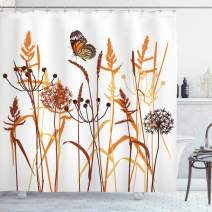 """Ambesonne Butterfly Shower Curtain, Composition with Leaves and Winged Animal Spring Season Plant Blossom, Cloth Fabric Bathroom Decor Set with Hooks, 75"""" Long, Orange Brown"""