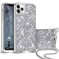 Aemotoy for iPhone 11 Pro Max Luxury Shiny Rhinestone Case with Crossbody Chain Slim Glitter Diamond Shell Crystal Protective Hybrid Soft TPU Armor Back Cover for 6.5 inch iPhone 11 Pro Max Silver