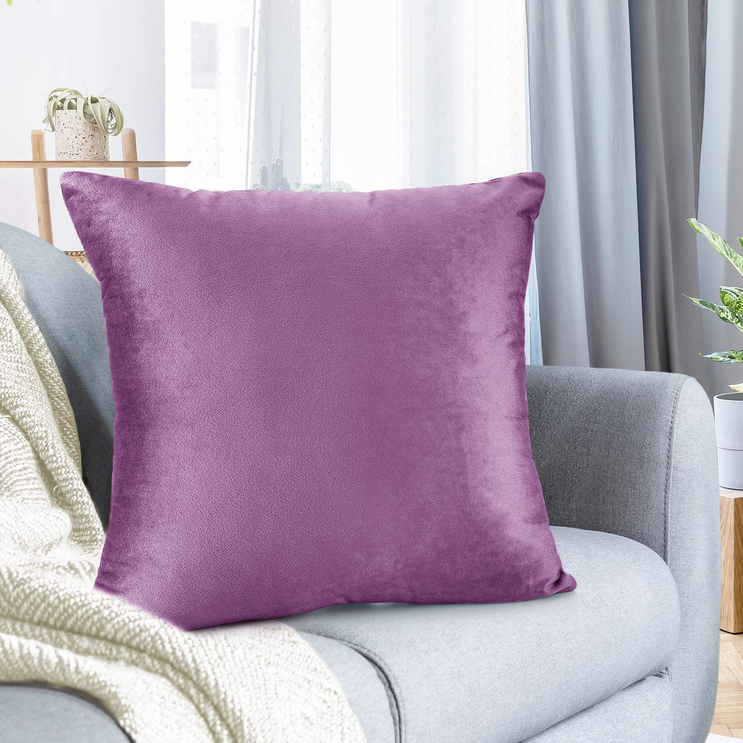 """Nestl Bedding Throw Pillow Cover 26"""" x 26"""" Soft Square Decorative Throw Pillow Covers Cozy Velvet Cushion Case for Sofa Couch Bedroom - Lavender Dream"""