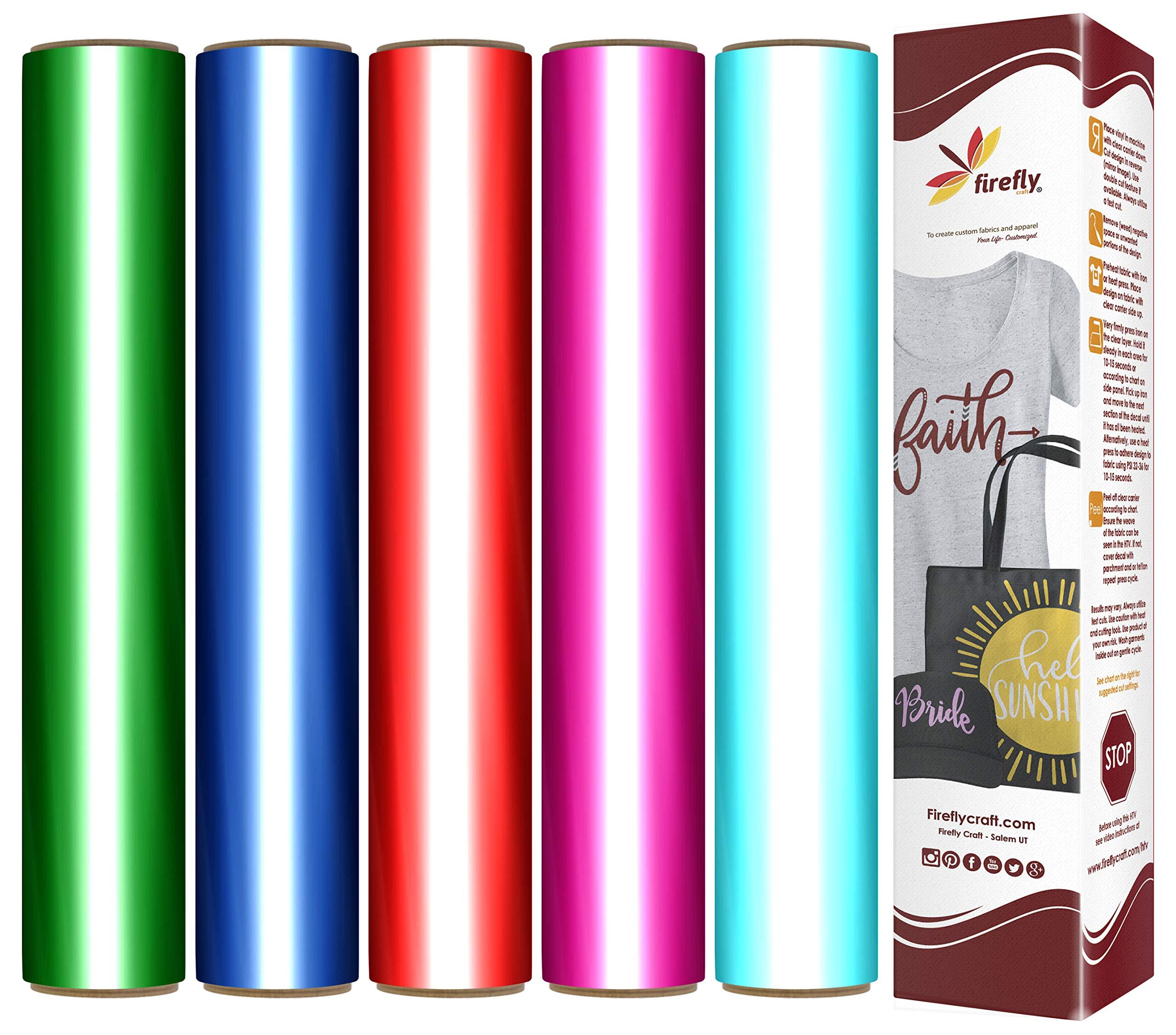 "Firefly Craft Elastic Foil Heat Transfer Vinyl Bundle   Rainbow Metallic HTV Vinyl Bundle   Iron On Vinyl for Cricut and Silhouette   Pack of 5 Best Selling Colors - 12"" x 20"" Each"