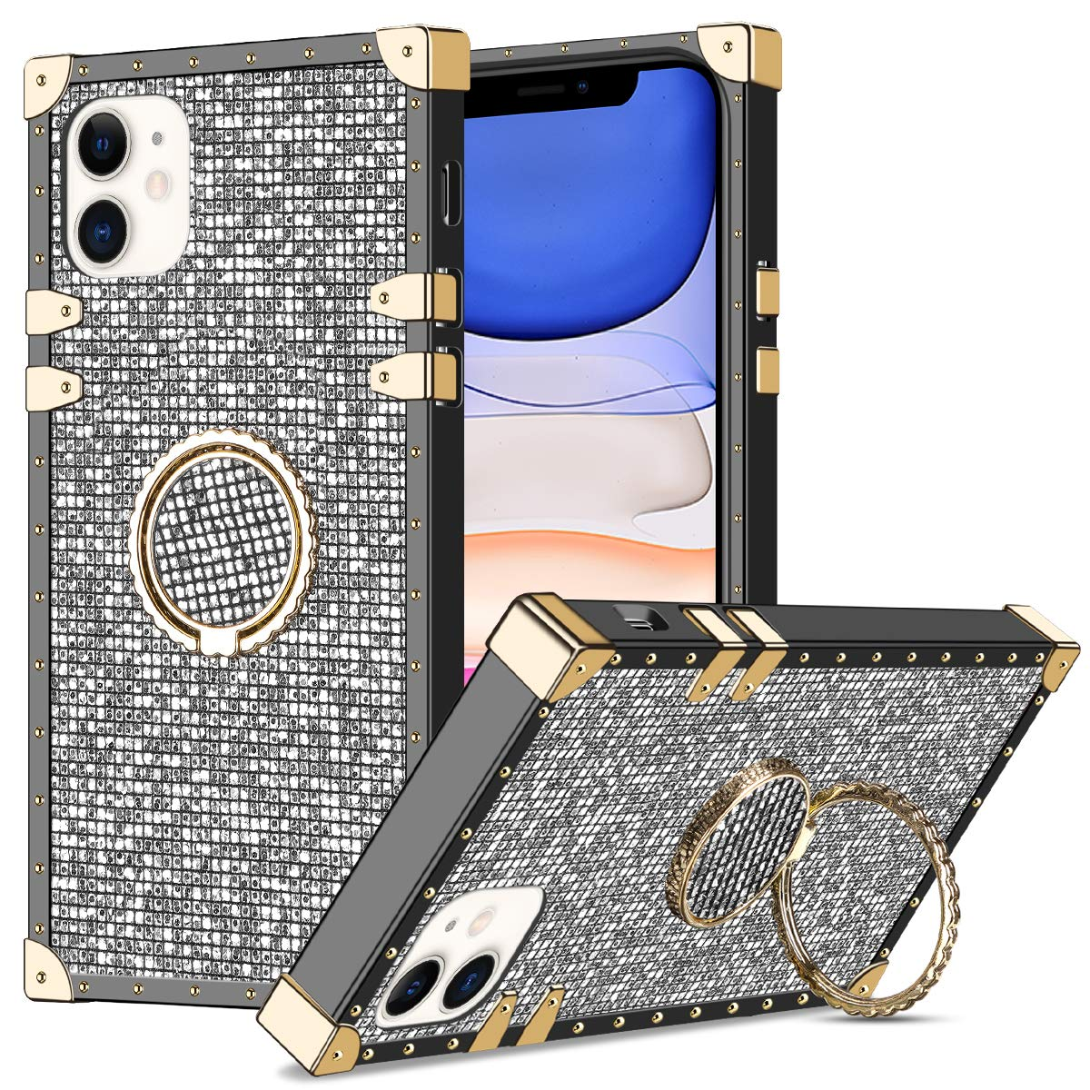 WOLLONY for iPhone 11 Case with Kickstand Ring Holder Square Edge for Hippie Women Girl Retro Bling Elegant Soft Protective Metal Reinforced Corners Shockproof Cover for iPhone 11 6.1inch Diamond