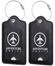 Chelmon Leather Luggage Tags Baggage Bag Instrument Tag 2 Pcs Set (Black 4001)