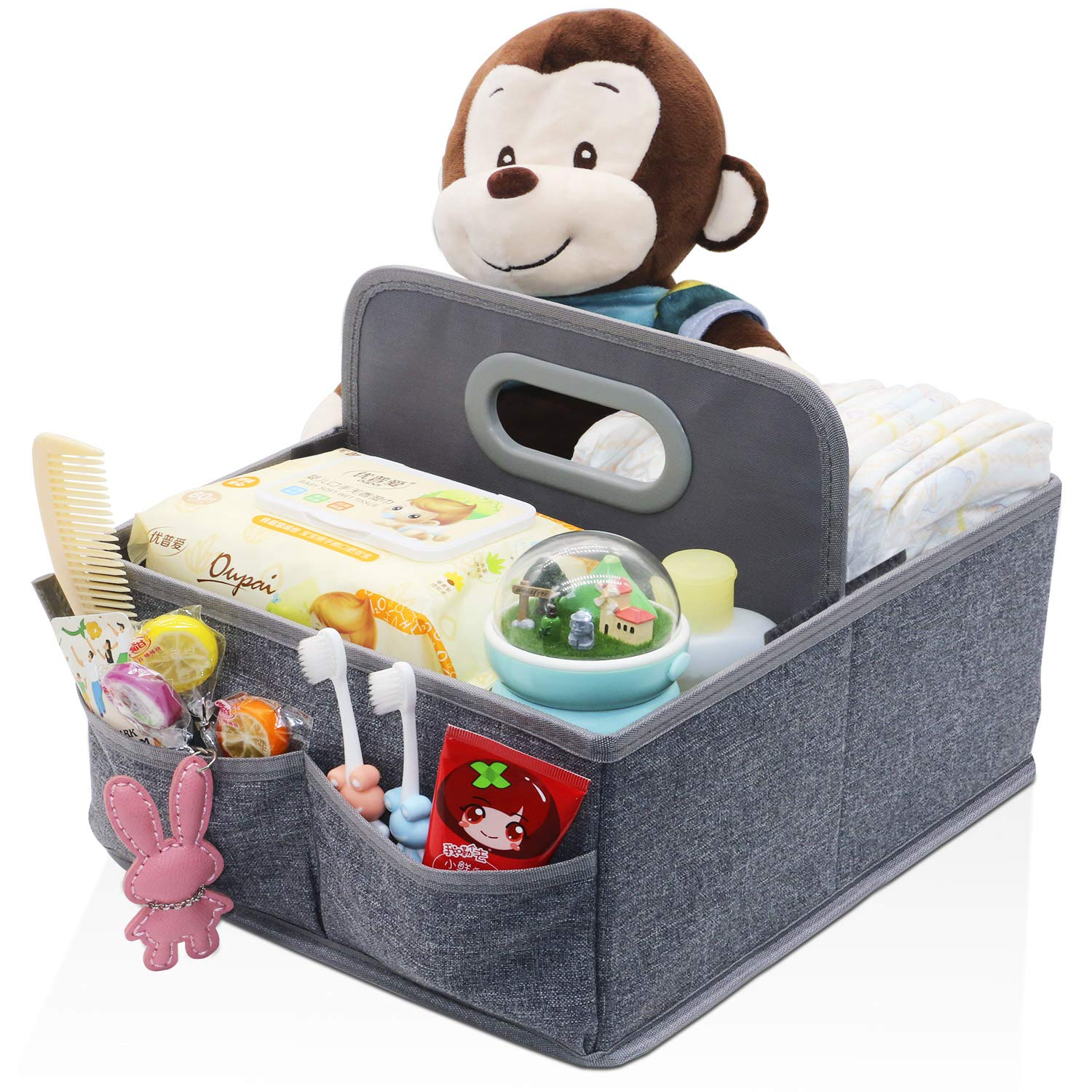 Onlyeasy Foldable Diaper & Wipes Caddy, Portable Baby Diaper Changing Organizer, Nursery Storage Bin and Car Organizer, Perfect Gift for Baby Shower, Terry Grey, MXLDC