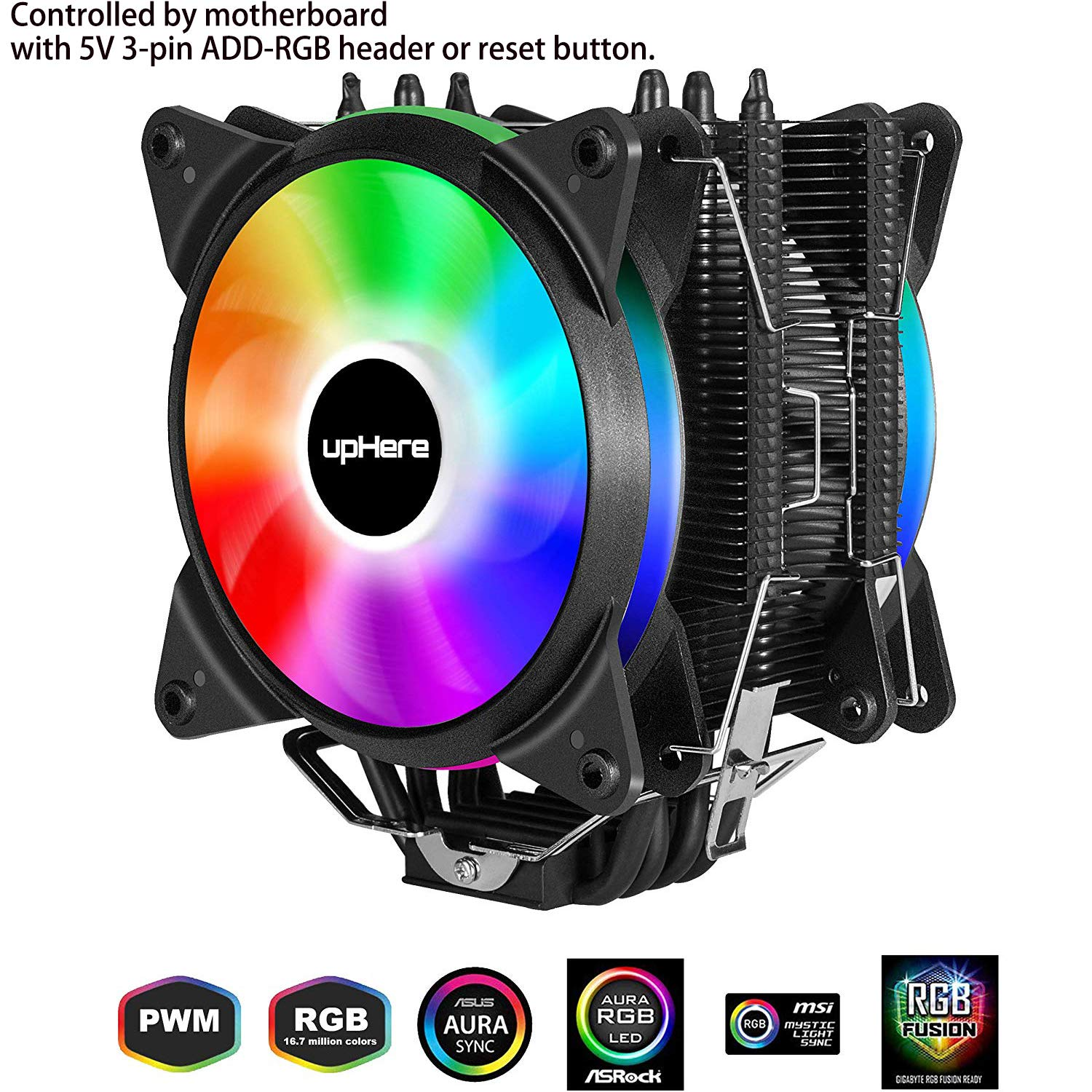 upHere 5V RGB CPU Cooler with 4 Direct Contact Heatpipes,Dual 120mm PWM Intelligent Control 5V Addressable RGB Fan Motherboard Sync,AC12RGB