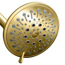 ShowerMaxx, Elite Series, 6 Spray Settings 5 inch Adjustable High Pressure Shower Head, MAXX-imize Your Shower with Showerhead in Polished Brass/Gold Finish