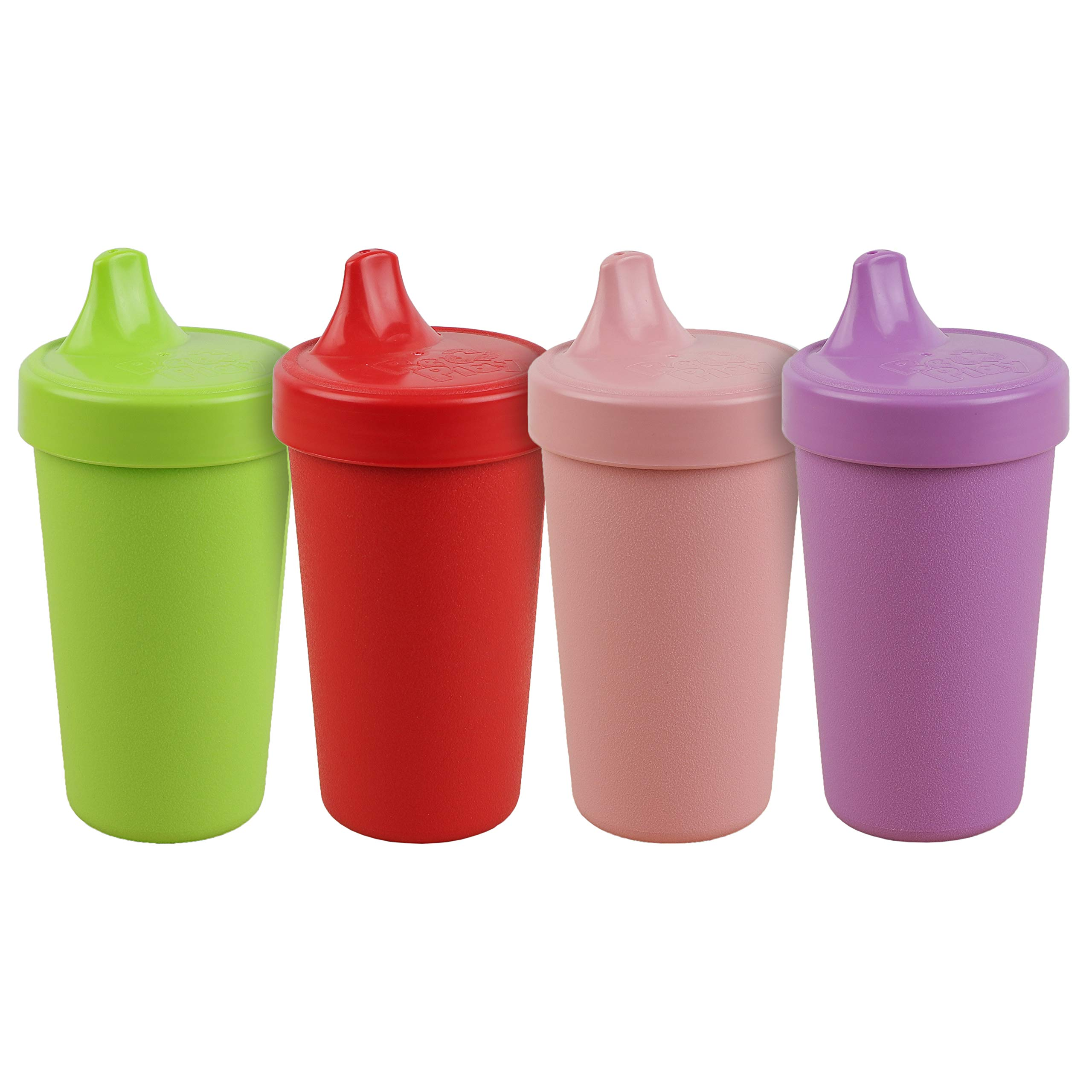 Re-Play Made in The USA 4pk No Spill Cups for Baby, Toddler, and Child Feeding in Lime Green, Red, Blush and Purple | Made from Eco Friendly Heavyweight Recycled Milk Jugs | (Grinchmas+)