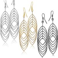 Fashion Costume Jewelry Dangle Drop Earrings Set For Women Teen Silver Gold And Black Tones