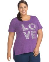 JUST MY SIZE Women's Size Plus Short Sleeve Graphic Tunic