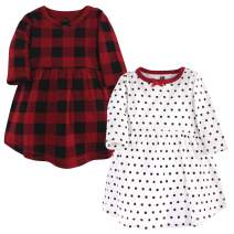 Hudson Baby Baby and Toddler Girl Cotton Dresses, Classic Holiday, 0-3 Months