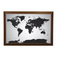 Push Pin Travel Maps Black Ice World with pins - 27.5 inches x 39.5 inches - Brown Frame