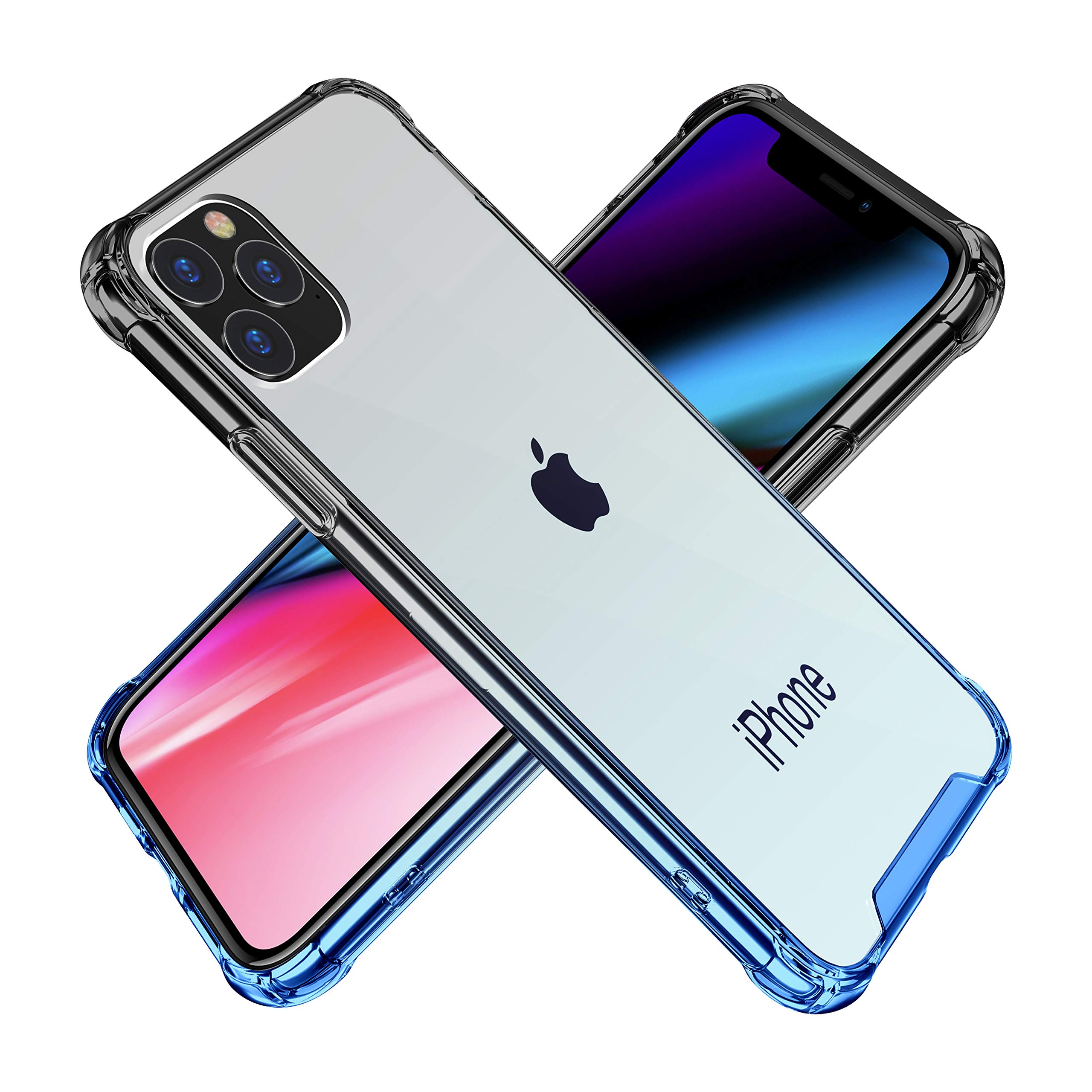 BAISRKE iPhone 11 Pro Case, Slim Shock Absorption Protective Cases Soft TPU Bumper & Hard Plastic Back Cover for iPhone 11 Pro 2019 [5.8 inch] - Black Blue Gradient