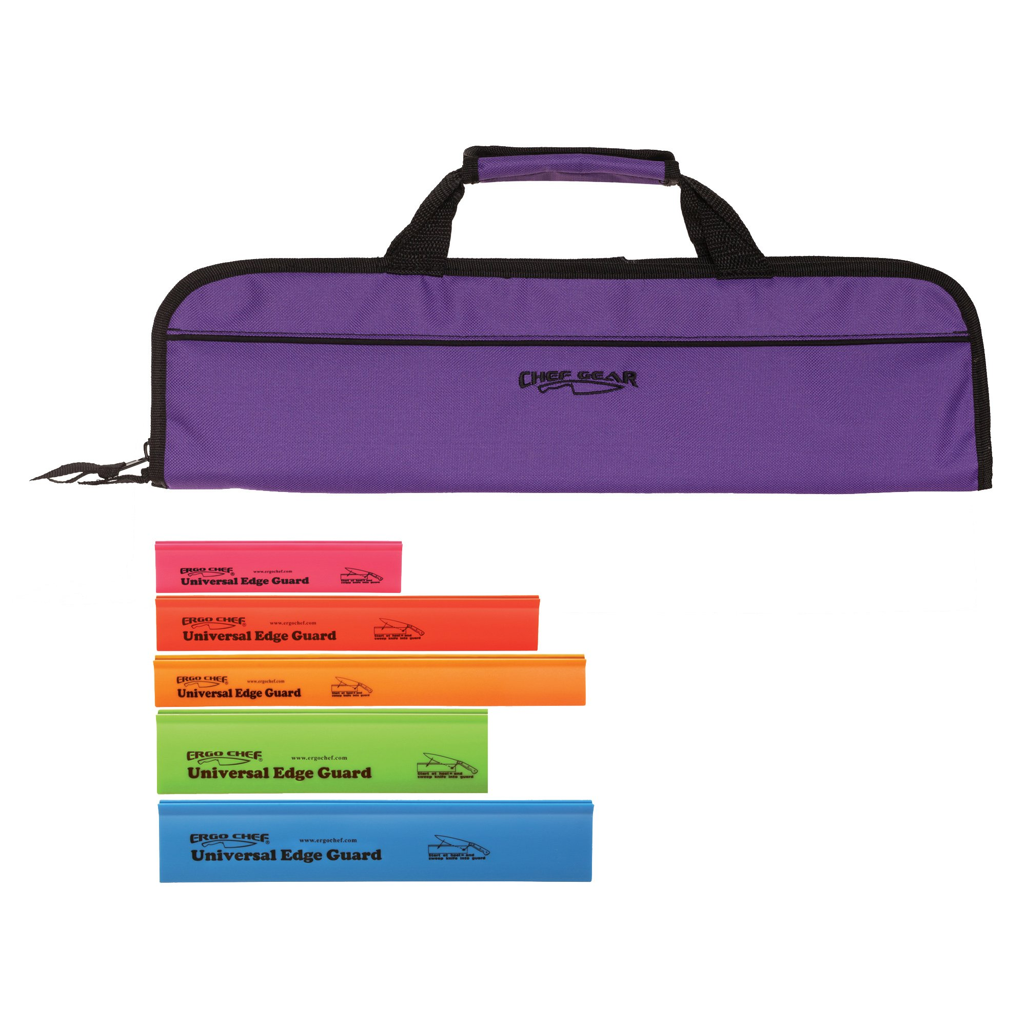 5 Pocket Padded Chef Knife Case Roll with 5 pc. Edge Guards (Purple 5 Pocket bag w/5pc.Multi-Color Edge guards)
