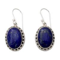 NOVICA Lapis Lazuli .925 Sterling Silver Dangle Hook Earrings 'Blue Mystique'