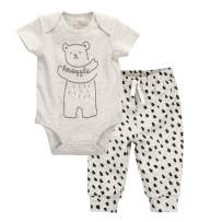 Oliver & Rain - Organic Snuggle Bear Short Sleeve Bodysuit and Bear Dot Print Pants Outfit Set, Heather Oatmeal/Oatmeal, NB