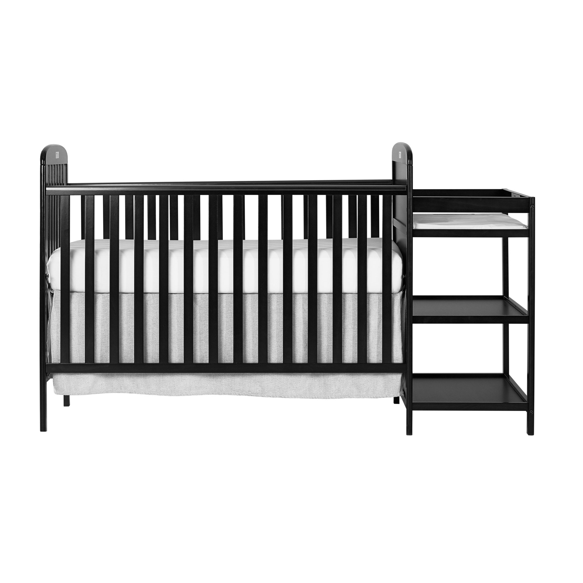 Dream On Me, Anna 4 in 1 Full Size Crib and Changing Table Combo, Black, ONE Size