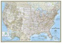 National Geographic: United States Classic Enlarged Wall Map - Laminated (69.25 x 48 inches) (National Geographic Reference Map)
