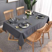 maxmill Jacquard Poly-Cotton Tablecloth Lattice Pattern Spillproof, Water Resistance Wide Hem Heavy Weight Soft Table Cloth for Kitchen Dining Tabletop Decoration Oblong, Charcoal, 58x140 Inch