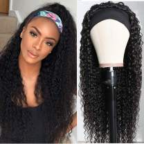 Curly Headband Wig Human Hair Wigs Glueless Scarf None Lace Front Wig Full Machine Made Natural Color Peruvian Kinky Curly Hair Wig for Women (14 inch, natural color curly headband wig)