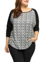 uxcell Women's Plus Size Peasant Tops Scoop Neck Leopard Print Raglan Top