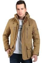 Gmardar Men's Winter Warm Faux Fur Lined Coats Jackets Parka with Detachable Hood Winter