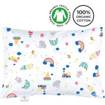 My Little North Star Organic Toddler Pillowcase - 100% Organic Cotton - Hypoallergenic Super Soft Safe and Comfortable - No Harsh Chemicals on Your Toddler's Skin - Colorful Toys and Animals