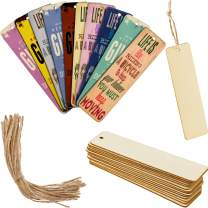 Wood Blank Bookmarks DIY Wooden Craft Bookmark Unfinished Wood Hanging Tags Rectangle Shape Blank Bookmark Ornaments with Holes and Ropes for Christmas DIY Wedding Birthday Party Decor (24)