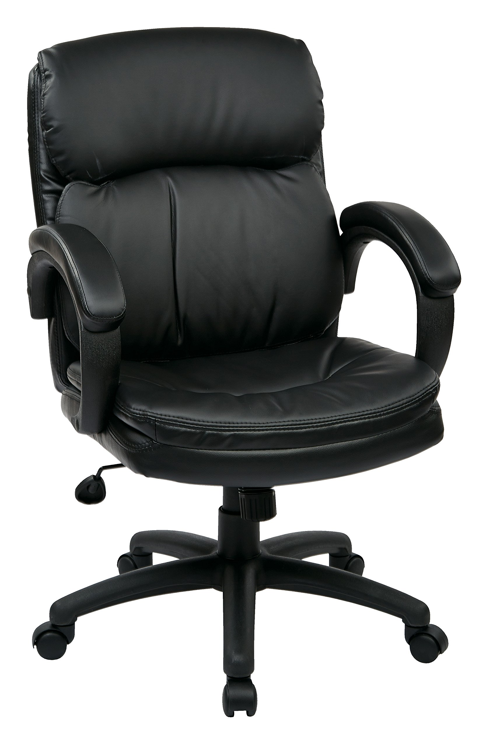 Office Star Mid Back Thick Padded Contour Seat and Back with Padded Armrests Black Eco Leather, Managers Chair