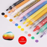 Acrylic Paint Marker Pens, Set of 12 Colors Markers Water Based Paint Pen for Rock Painting, Canvas, Photo Album, DIY Craft, School Project, Glass, Ceramic, Wood, Metal (M12)