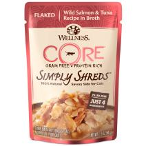 Wellness Core Simply Shreds Grain Free Wet Cat Food Mixer Or Topper, Flaked Wild Salmon & Tuna Recipe In Broth, 1.75-Ounce Pouch (Case Of 12)