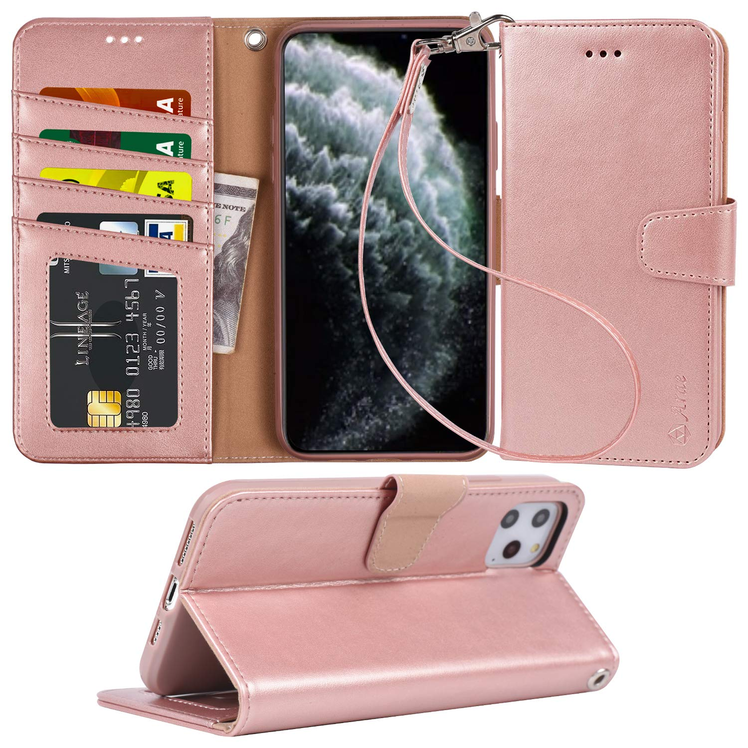 Arae Case for iPhone 11 Pro Max PU Leather Wallet Case Cover [Stand Feature] with Wrist Strap and [4-Slots] ID&Credit Cards Pocket for iPhone 11 Pro Max 6.5 inch 2019 Released - Rosegold