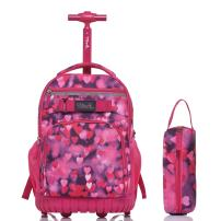 Tilami Rolling Backpack 18 Inch with Pencil Case School for Boys Girls, Red Heart
