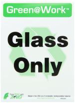 "ZING 0030S Eco Environmental Awareness Sign, Header""Green at Work"",""Glass Only"" with Recycle Symbol, 5"" Width x 7""Length, Self Adhesive Eco-Poly, Black/Green/White (Pack of 5)"
