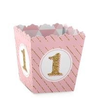 1st Birthday Girl - Fun to be One - Party Mini Favor Boxes - First Birthday Party Treat Candy Boxes - Set of 12