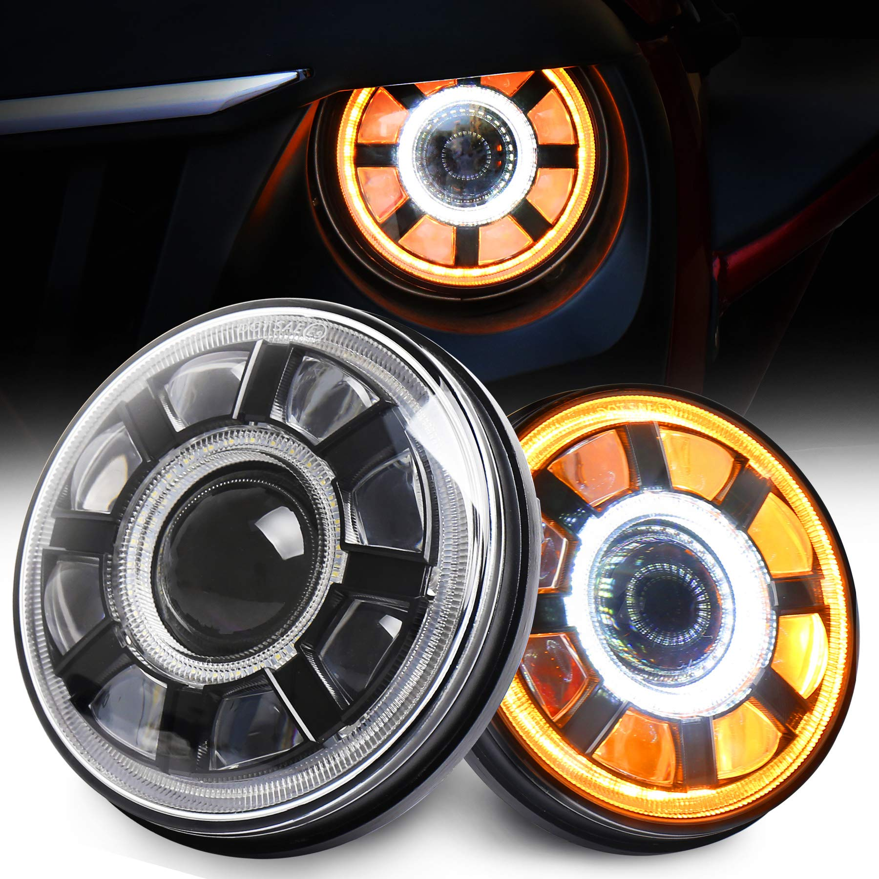 Jeep Wrangler LED Headlights with White DRL and Amber Halo Turn Signal for Jeep Wrangler JK TJ CJ and Hummer H1//H2 7 Inch Round Jeep LED Headlights 2 PCS XMall Jeep Wrangler Headlights.