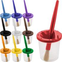 U.S. Art Supply 10 Piece Children's No Spill Paint Cups with Colored Lids and 10 Piece Large Round Brush Set with Plastic Handles
