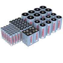 TenergyAA AAA C D 9V Battery,NiMH Rechargeable BatteriesCombo, 68-Pack, 24-Pack 2500mAh AA Cells, 24-Pack 1000mAh AAA Cells, 8-Pack 5000mAh C Cells, 8-Pack 10000mAh D Cells and 4-Cell 9V Batteries