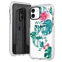 iPhone 11 Clear Case,Purple Floral Flowers Roses Daisy Summer Tropical Good Vibes Only Aloha Bahama Leaves Girls Trendy Hipster Spring Soft Protective Clear Case with Design Compatible for iPhone 11