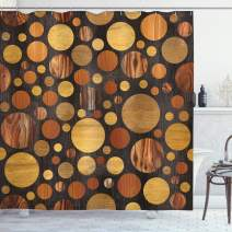 """Ambesonne Wooden Shower Curtain, Brown Wood Textures Abstract Pattern Circles Timber Oak Natural Grain Style Art Print, Cloth Fabric Bathroom Decor Set with Hooks, 84"""" Long Extra, Brown"""