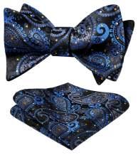 HISDERN Men's Paisley Floral Jacquard Woven Party Self Bow Tie Set