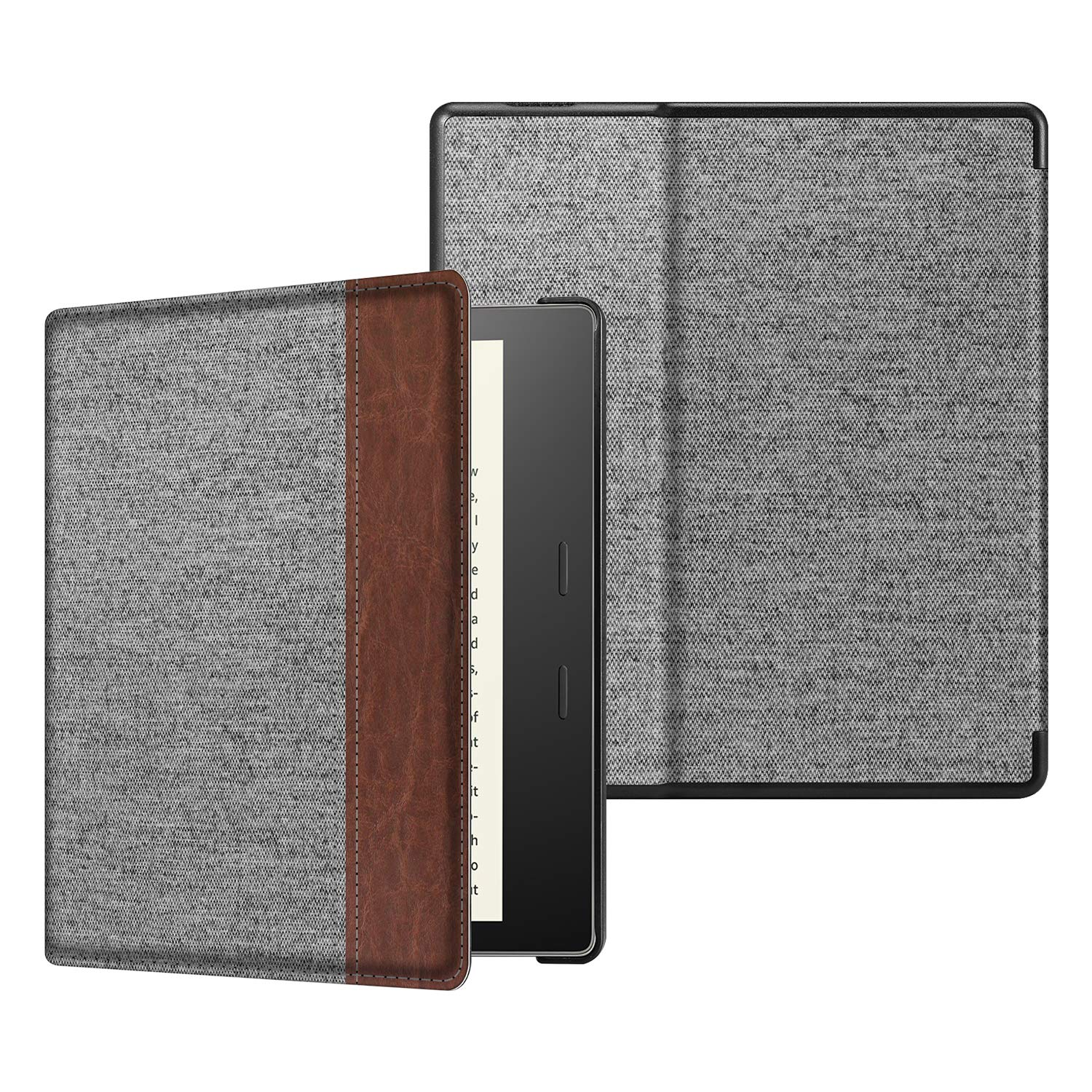 CaseBot Slimshell Case for All-New Kindle Oasis (10th Generation, 2019 Release and 9th Generation, 2017 Release) - Premium Fabric Lightweight Protective Cover with Auto Wake Sleep, Denim Gray
