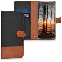 kwmobile Wallet Case Compatible with Motorola Moto Z Play - Fabric Faux Leather Cover with Card Slots, Stand - Black/Brown