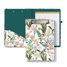 """Hongri Clipboard Folio with Refillable Lined Notepad and Interior Storage Pocket for Students, Classroom, Office, Women, Man, Cute Custom Pattern, Size 12.8"""" x 9.2"""",Evergreen"""