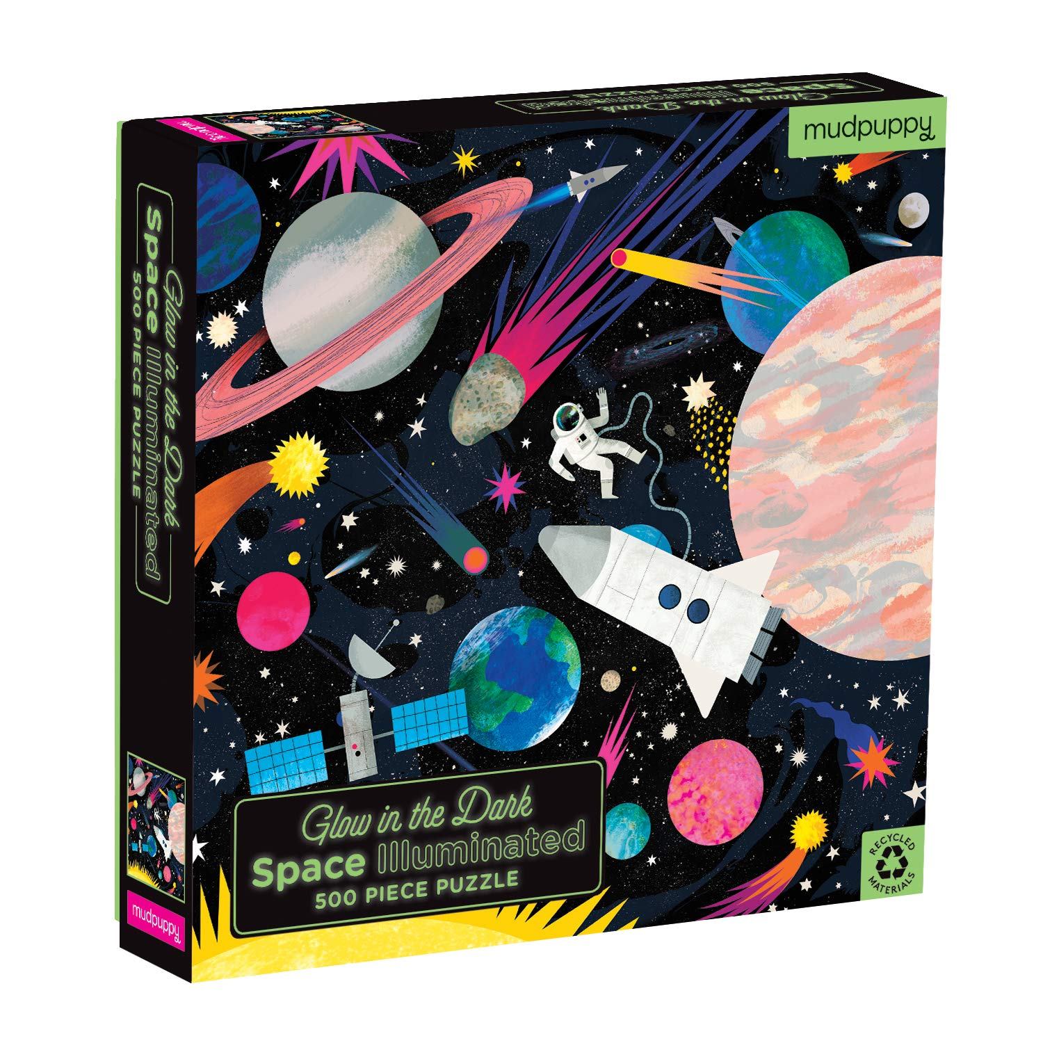 Mudpuppy Space Illuminated 500 Piece Glow in The Dark Jigsaw Puzzle for Kids and Families, Family Puzzle with Glow in The Dark Space Theme