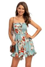 Off Shoulder Rompers for Women Strapless Floral Summer Sexy Beach Casual Jumpsuits