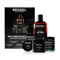Brickell Men's Evening Face Care Routine I, Clarifying Gel Face Wash, Detoxifying Charcoal Mask, Eye Cream, Anti-Aging Night Cream and Repairing Night Serum, Natural and Organic, Scented