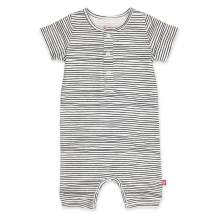 Zutano Organic Henley Bodysuit, Pencil Stripe, 9M