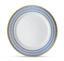 """[10 Count - 7"""" Plates] Laura Stein Designer Tableware Premium Heavyweight Plastic White Appetizer Plate With Blue & Gold Border Plastic Party & Wedding Plate Midnight Blue Series Disposable Dishes"""