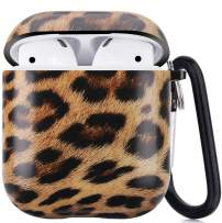 Airpods Case, Airpods Protective Hard Case Cover with Keychain Compatible with AirPods 2/1 Eco-Friendly Cute Girls Men Durable Shockproof Drop Proof Anti Lost Case for AirPods Charging Case, Leopard