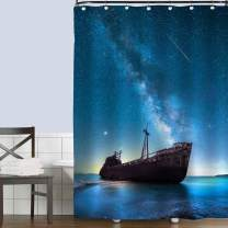 MitoVilla Lonely Ship Wreck Under Starry Night in Front of Milky Way Shower Curtain, Beautiful Landscape Photo Art Print, Ocean Bathroom Accessories Set with Hooks, Nautical Lover Gifts, 72 x 78, Blue